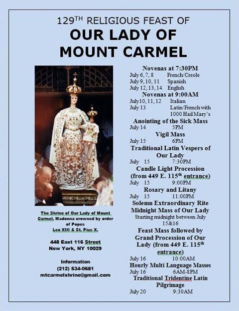 The 129th Religious Feast of Our Lady of Mount Carmel