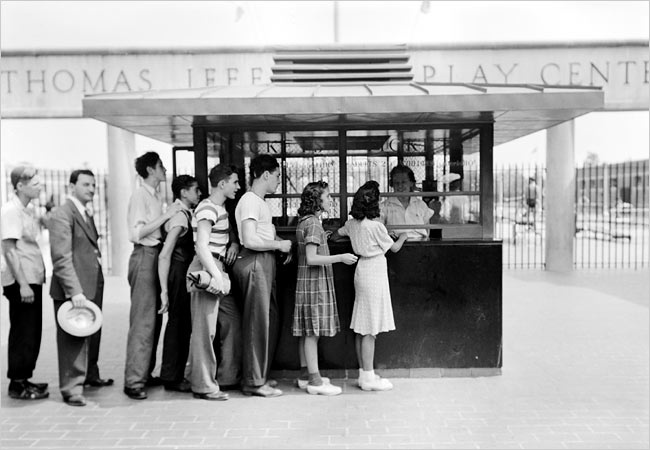Patiently waiting in line to enter the Jefferson Park Pool, circa 1940.