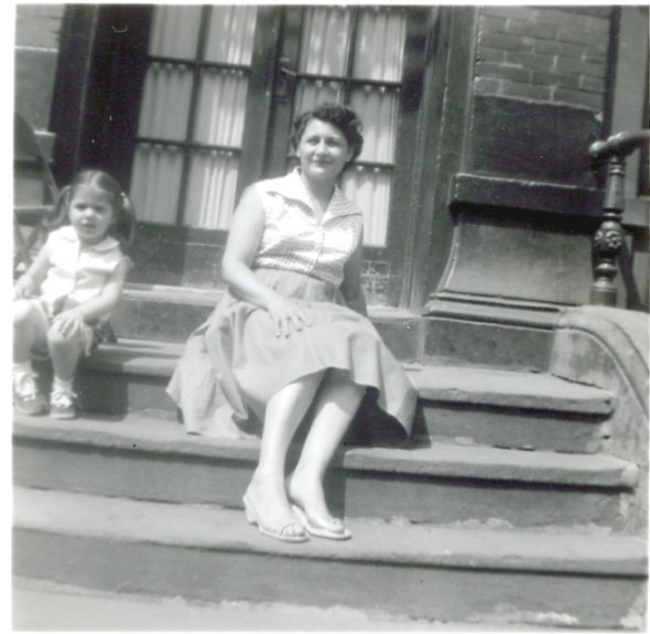 Mom and Margaret on stoop os 505 E. 118 c.1957.jpg